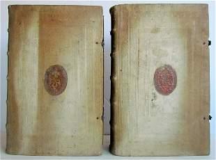 1616 2 volumes SANCTI AMBROSII nice MONASTIC PIGSKIN