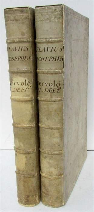 1727 ANTIQUE 2 VOLUMES ILLUSTRATED VELLUM FOLIOS
