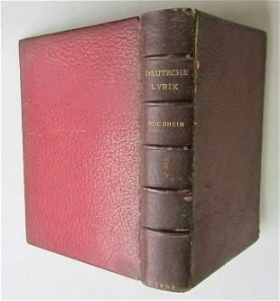 1889 GERMAN POETRY DEUTSCHE LYRIK ANTIQUE BOOK SIGNED