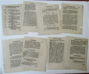 LOT of 8 LEAVES from 16th century GERMAN EDITION