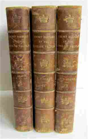 1893 3 VOLUMES SHORT HISTORY OF ENGLISH PEOPLE by GREEN
