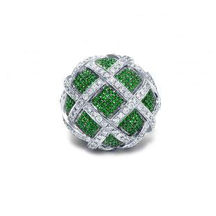 Exclusive Flora Ring | White Gold, Diamonds, Green