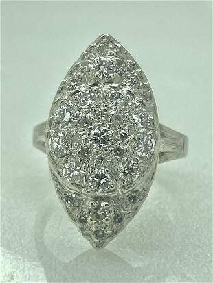 Vintage 0.85 ctw Diamonds Cocktail Ring In 14k White