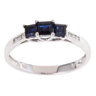 14K White Gold Blue Sapphire and Diamond-accent Fashion