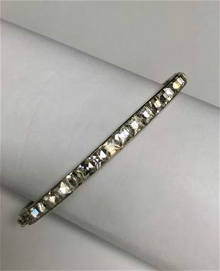 Art Deco Sterling Silver Rhinestone Paste Hinged Bangle