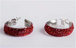 Red Rhinestone Enamel and Sterling Silver Hoop Earrings