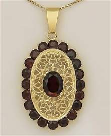 LADIES 750 18k YELLOW GOLD 8.00ct ROUND GARNET FILIGREE