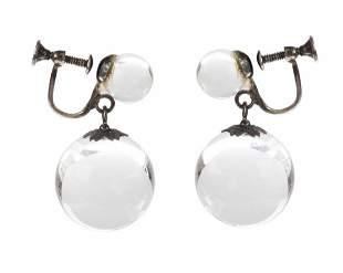 Art Deco Pools of Light Dangle Ball Earrings