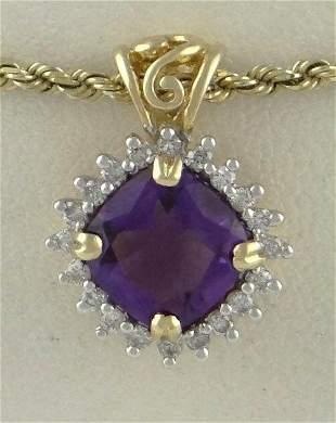 LADIES 14K GOLD 2 1/2ct CUSHION AMETHYST DIAMOND