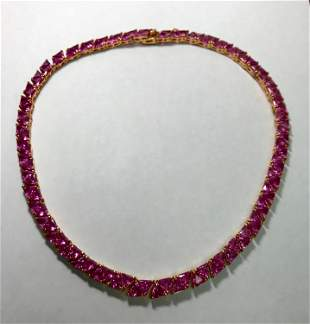 Gorgeous Sterling Silver/Vermeil Pink Simulated