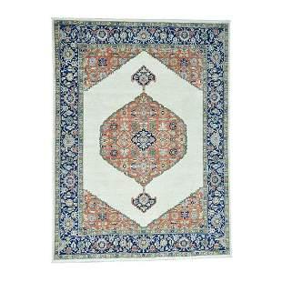 Hand-Knotted Antiqued Bijar Pure Wool Oriental Rug