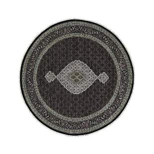 Black Wool And Silk Tabriz Mahi Design Round Hand