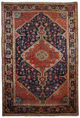 Handmade antique Persian Malayer rug 4.10' x 7.3' (