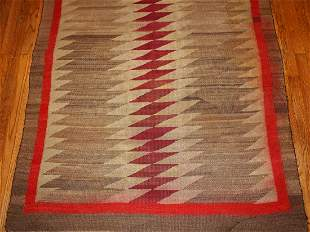 Handmade antique American-Indian Navajo rug 4.2' x 9.2'