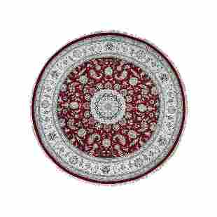 Hand-Knotted Wool And Silk 250 Kpsi Red Nain Round