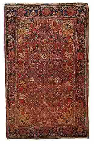 Handmade antique Persian Sarouk Farahan rug 3.5' x 4.8'