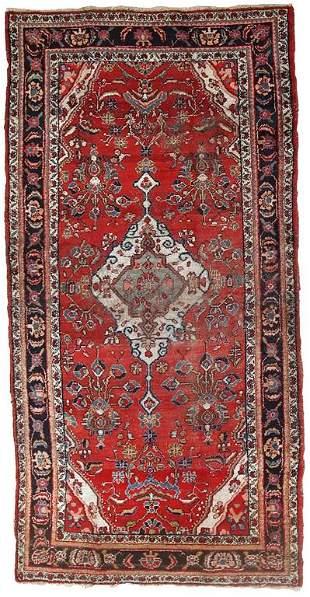 Handmade antique Persian Malayer distressed rug 5' x