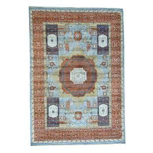 Hand-Knotted Mamluk Design Peshawar Pure Wool Oriental