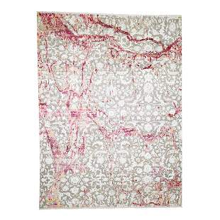 Hand-Knotted Sari Silk With Oxidized Wool Oriental Rug