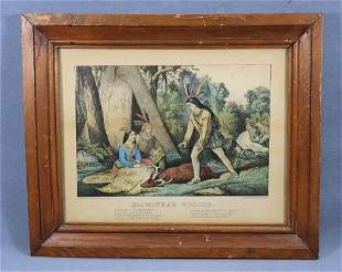 "1860 CURRIER & IVES ""HIAWATHA'S WOOING"" LITHOGRAPH"