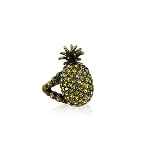 Gucci Gold Metal Embellished Crystal Pineapple Ring