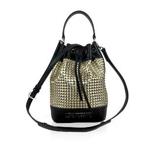 Love Moschino Black and Gold Textured Drawstring Bucket