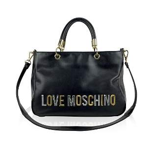 Love Moschino Black Leather Look Tote Sequin Shoulder