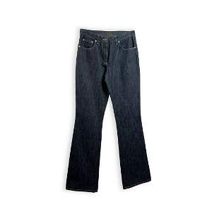Fendi Blue Denim Five Pockets Jeans Pants Leather