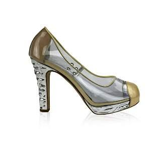 Chanel Clear Vinyl Golden Cap Toe Silver Heels Platform