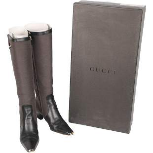 Gucci Taupe Fabric Heeled Boots with Leather Toes Size
