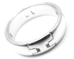 "AUTHENTIC HERMES 18K WHITE GOLD HERCULES ""H"" BAND RING,"