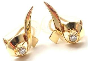 Authentic! Tiffany & Co 18k Yellow Gold Diamond Ribbon