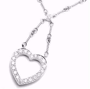 Authentic! Tiffany & Co Platinum Diamond Open Heart