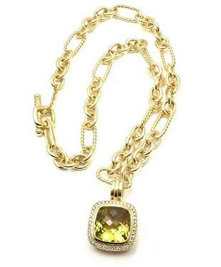 David Yurman 18k Yellow Gold Diamond Citrine Pendant