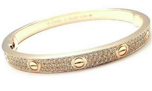 Authentic! Cartier Love 18k Rose Gold Diamond Paved