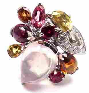 Authentic! CARTIER Sorbet 18k Gold Diamond Pink Quartz