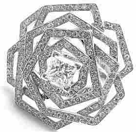 Rare! Authentic Chanel 1932 Flower 18k White Gold