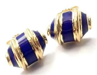 Authentic! Tiffany & Co 18k Yellow Gold Blue Enamel