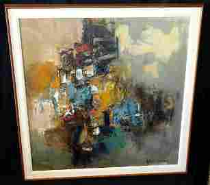 1970 Hawaii Colorful Abstract Painting John Chin Young