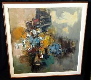 1970 Hawaii Colorful Abstract Painting John Chin Young