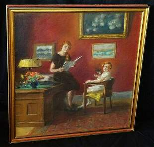 1925 US Pastel Painting Interior w. Mother & Daughter