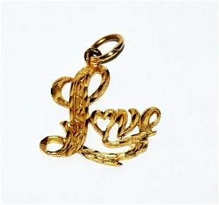 Vintage 14k Yellow Gold Love Motif Pierce Pendant Charm