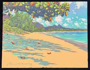 Hawaii Painting Waimanalo Beach Olomana Russell Lowrey