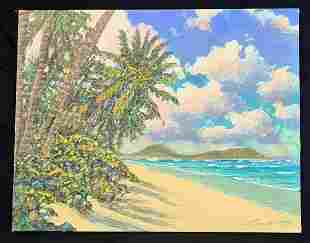 Hawaii Painting Kahala Beach to Portlock Russell Lowrey