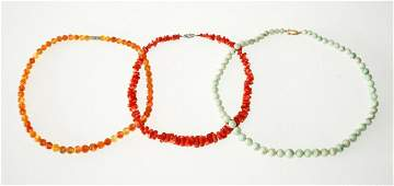 3 Vtg Chinese Bead Necklaces Jadeite, Coral, Carnelian