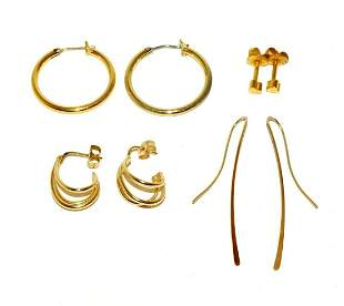 2 Pair Vtg Modern 14k YG Earrings + 2 Pair Gold-plated