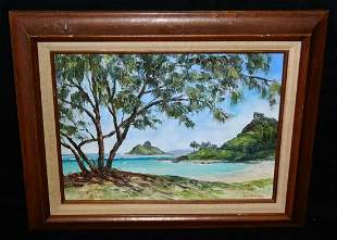 80s Hawaii Oil Painting Kailua Beach Margaret McMillan