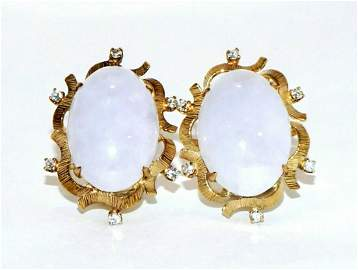 Chinese 18k YG Earrings w 2 Lavender Jade & 12 Diamonds