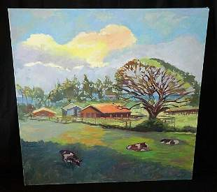 2005 Hawaii Oil Painting North Shore Cows by Mark Brown