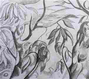 Abstract pencil painting Among nature Peter Tovpev